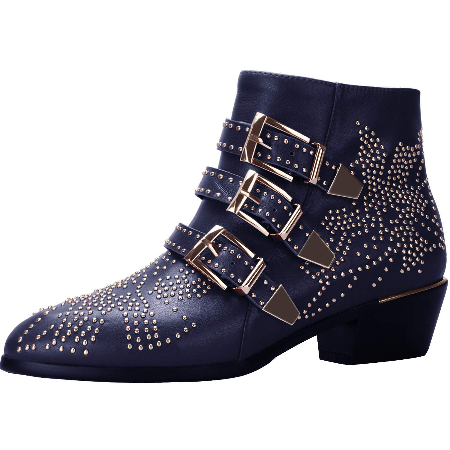 f0ddff98b0 Comfity Boots for Women, Women's Leather Boot Rivets Studded Shoes ...