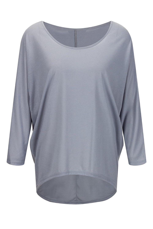 Beauty7 ES 38 Irregular Camiseta Mujer Loose Pullover Casual Oversized Baggy Off-Shoulder Manga Larga Cuello Redondo T-Shirt Tops Blusa Parte Superior Top: ...