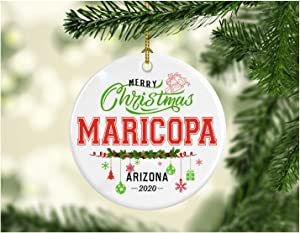 Christmas Decorations Tree Ornament - Gifts Hometown State - Merry Christmas Maricopa Arizona 2020 - Gift for Family Rustic 1St Xmas Tree in Our New Home 3 Inches White