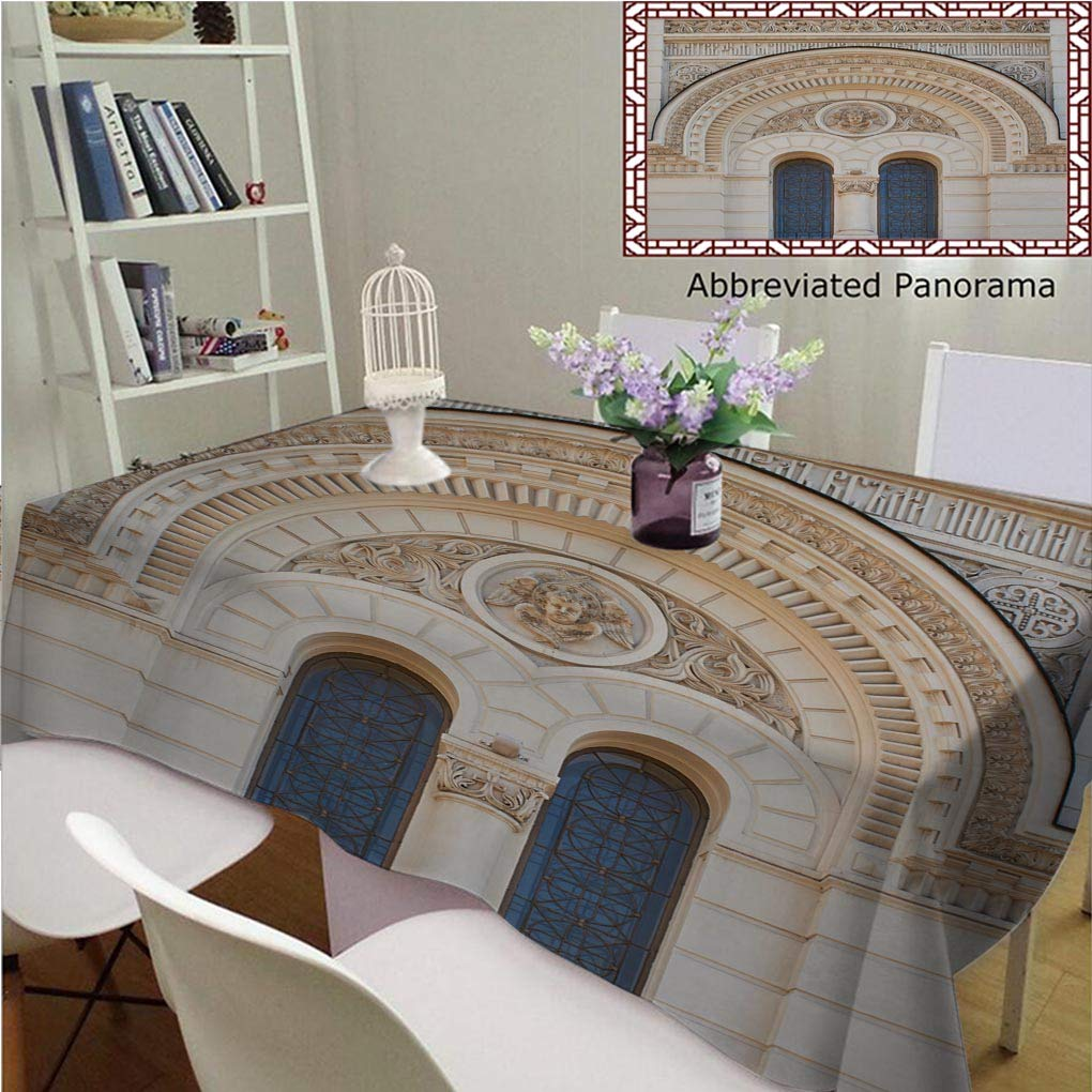 Amavam Unique Custom Cotton Linen Tablecloths Church Window in A Classical Style Architecture Tablecovers Rectangle Tables, 70'' Wx 52'' L, 180x130cm