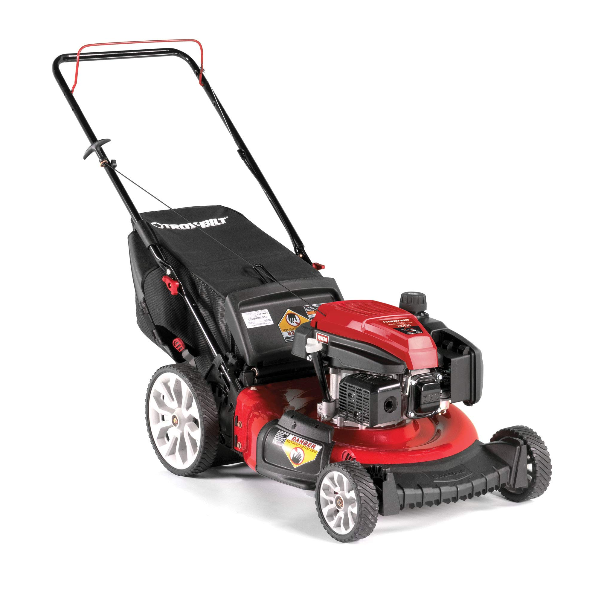 Troy Bilt TB130 21 Inch 159cc Gas Mulching Push Walk Behind Lawn Mower, Red