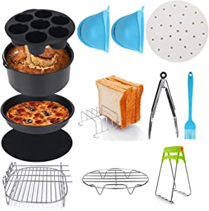 Air Fryer Accessories, Set of 12, Fit all 3.7QT - 6.8QT Power Deep Hot Air Fryer with 8 Inch Cake Barrel, Pizza Pan, Cupcake Pan, Oven Mitts, Skewer Rack