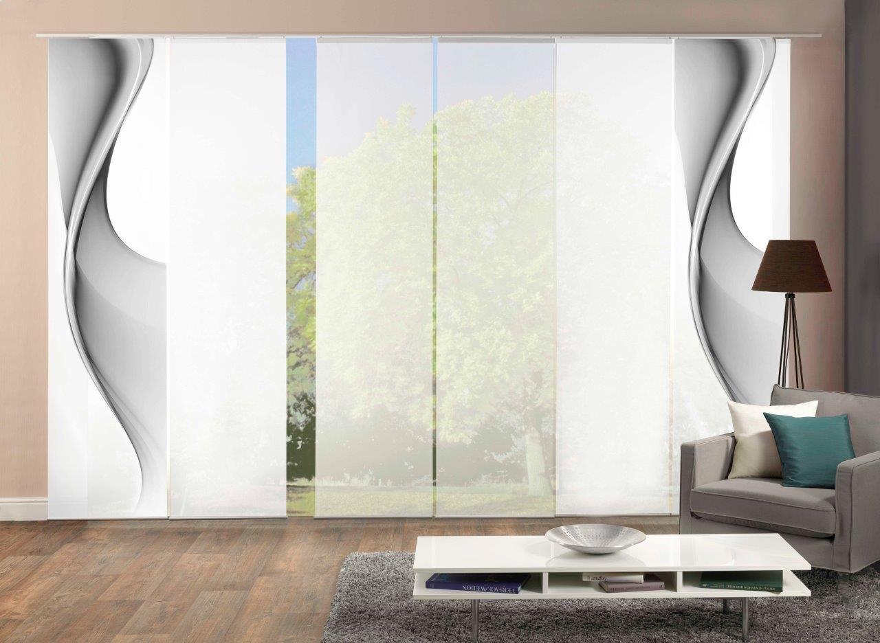 Home Fashion 6er-Set Flächenvorhänge EASTON, optimal aufeinander abgestimmt, inkl. hochwertigem Zubehör (grau)