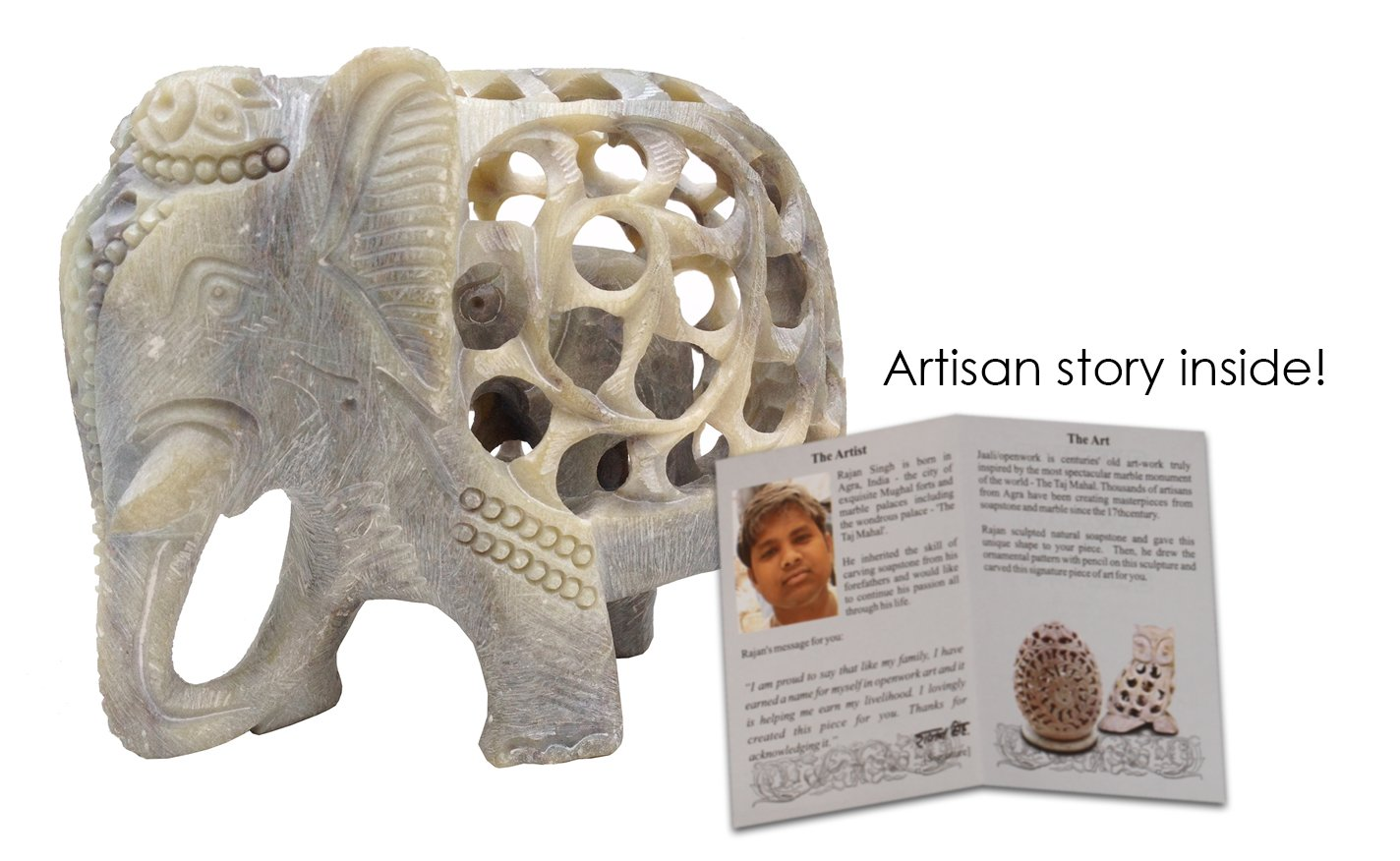 Amazon.com: Stone Elephant Mom with Baby in Tummy Statue/Sculpture ...