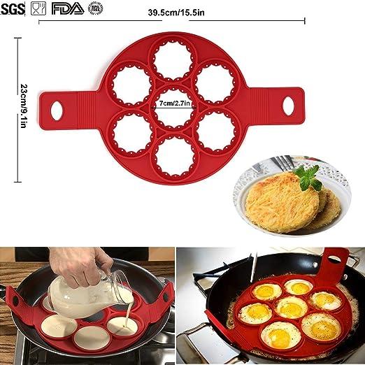POAO Antiadherente Moldes de Silicona Pancake,Fantastic Omelette Maker,Rápido y Fácil Manera de Perfect Pancakes: Amazon.es: Hogar