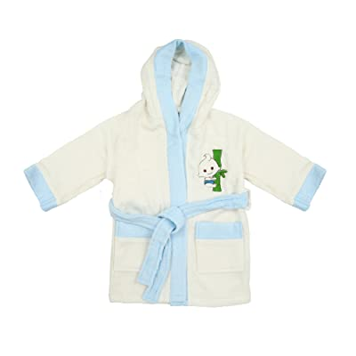 100% Bamboo Kid's Bathrobe White-Blue, Ultra Soft, High Absorbency
