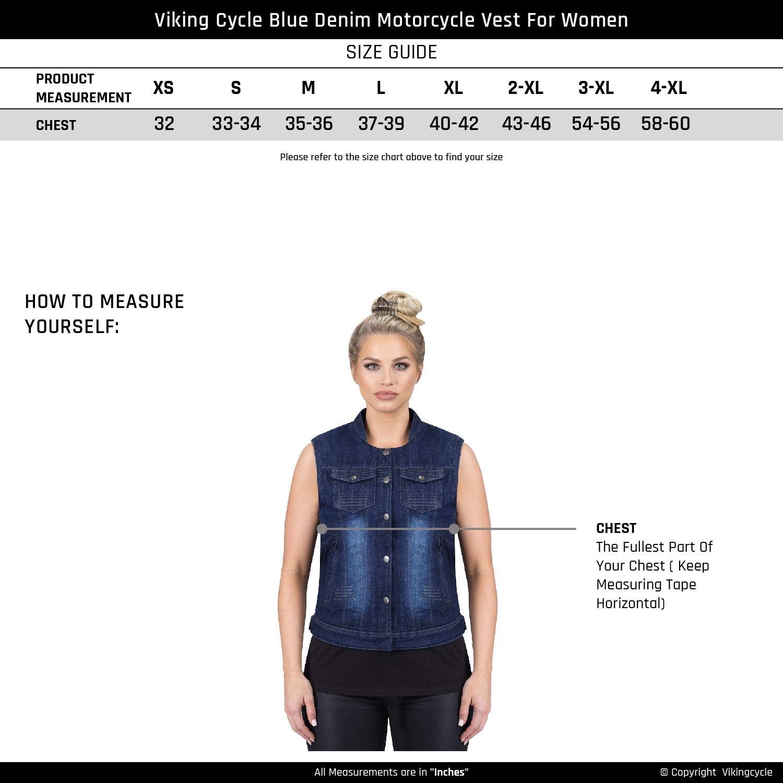 Viking Cycle Denim Motorcycle Vest for Women Blue, XXX-Large