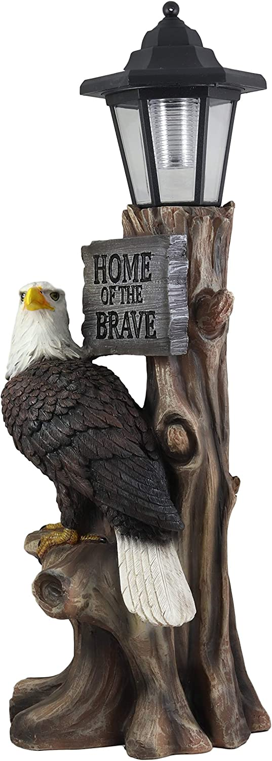 Ebros Home of The Brave Patriotic Bald Eagle Perching On Tree Stump Garden Courtesy Night Light Statue Solar LED Lantern Lamp Guest Greeter Decor for Patio Poolside Home Figurine