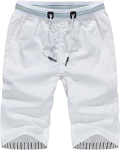 Homme Coton Taille Élastique Sweat Short Longueur Genou Sport Pantalon Jogging