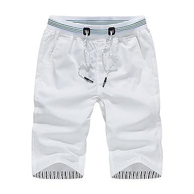 190754c94014 Elonglin Bermuda Homme en Coton Confortable Style Boxing Shorts Pantalon  Court Pantacourt Sport Taille Elastique Corde