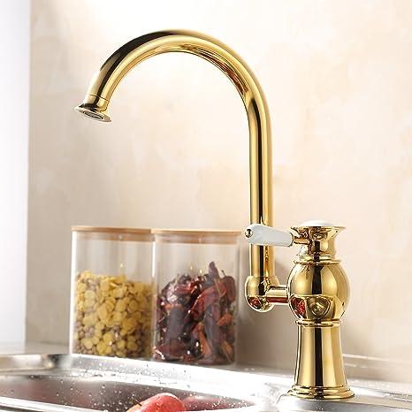 Miscelatore per lavandino cucina, placcato in oro, in rame e ...