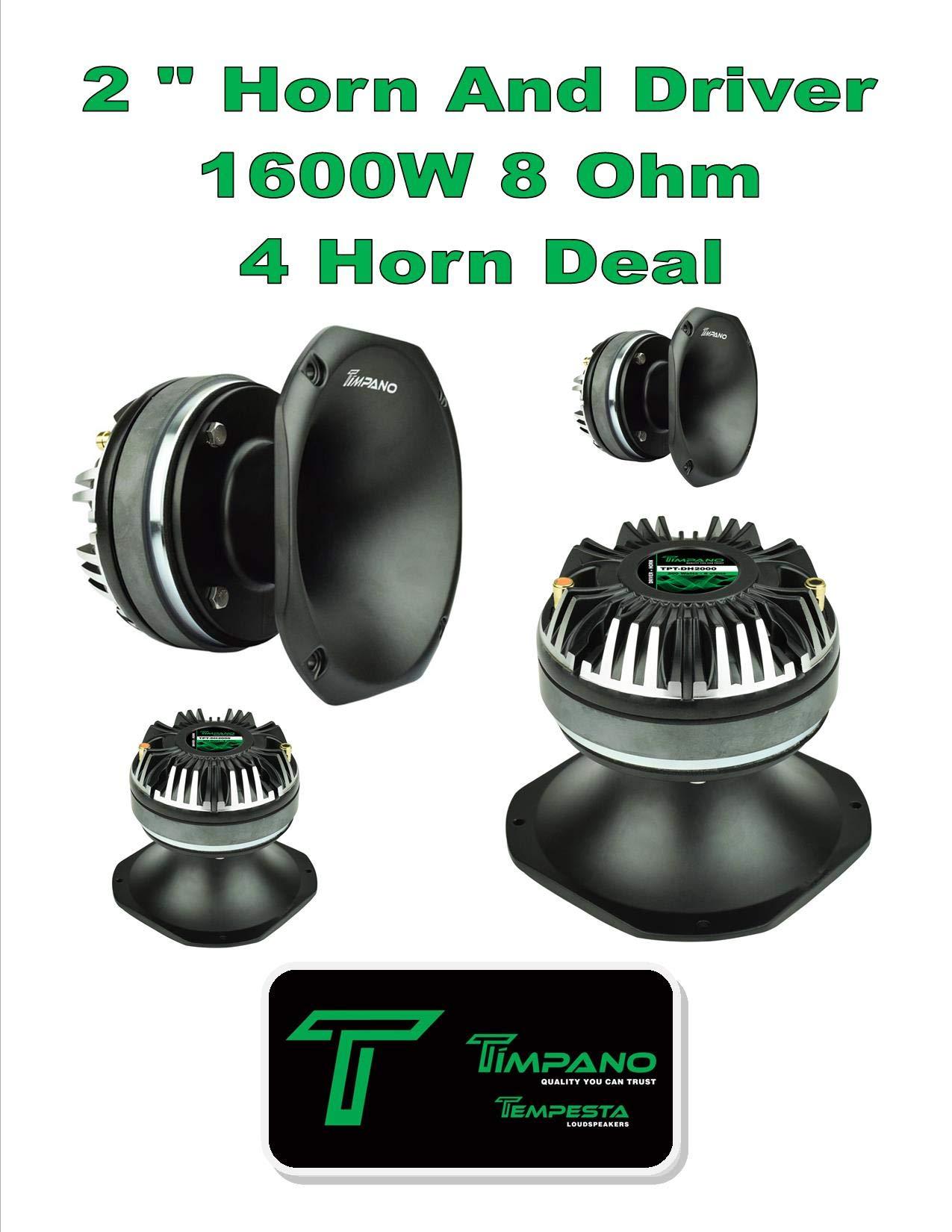 (4) Timpano TPT-DH2000 2'' Compression Horn Driver 8 Ohm Slim 1200 Watts 2 Pair