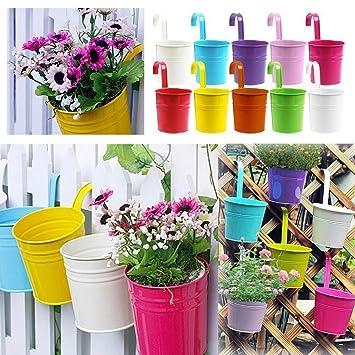 Aoxintech Pot De Fleurs En Metal A Suspendre Balcon Jardin Pots Pots