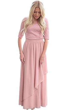 Mikarose Lauren Modest Maxi Dress In Mauve - XS