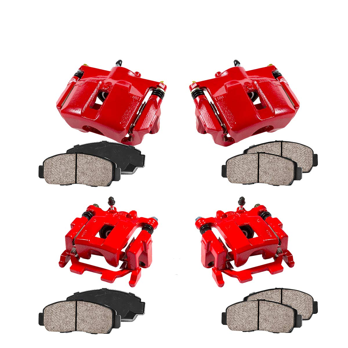 CCK01457 FRONT + REAR [ 4 ] Performance Grade Loaded Powder Coated Red Calipers + Ceramic Brake Pads Kit Callahan Brake Parts
