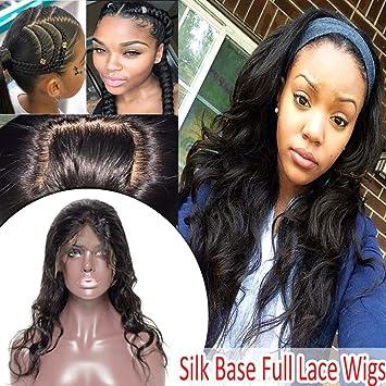 Silk Top Full Lace Wigs Virgin Human Hair Long Wavy Lace Front Wig for  Black Women 44561cf68e