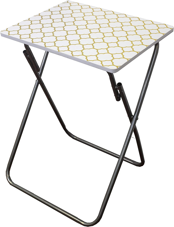Home Basics TV Tray Cocktail Metallic Multi-Purpose Decorative Sturdy & Durable Bedside Foldable Laptop Lap Desk Small Snacks Side Table (Gold)