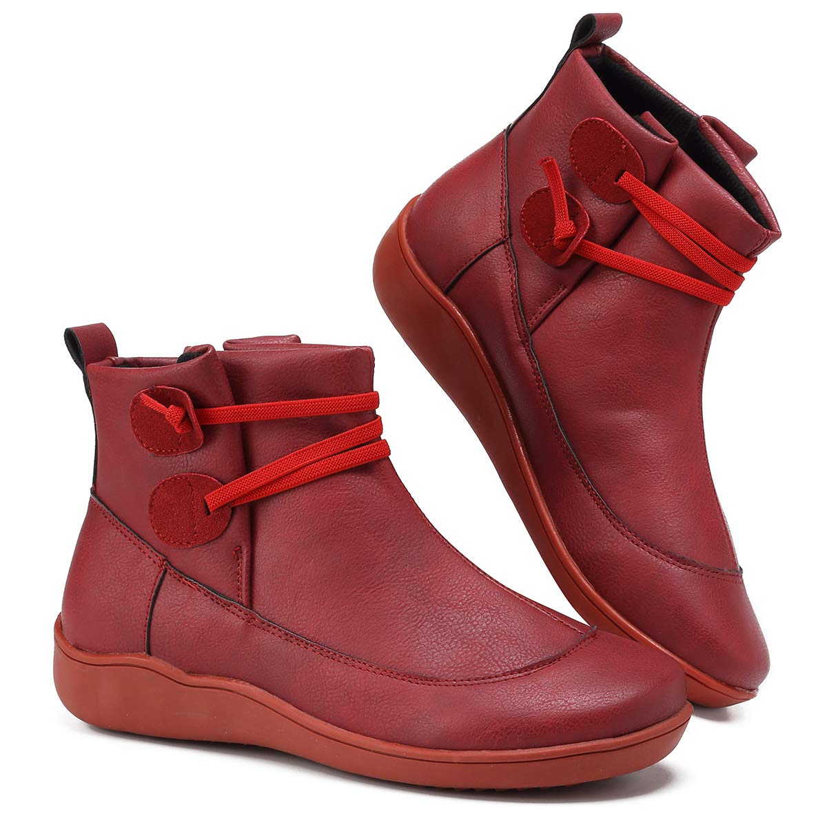 Womens Arch Support Boots Sunkessety Fashion Lace Up Side Zipper Ankle Booties Comfortable Leather Flat Heel Boots
