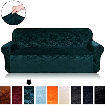Velvet Plush Stretch Sofa Covers   Fit Stretch Stylish Furniture Protector Sofa  Slipcovers For Loveseat, 1 Piece Spandex Embossing Flower Pattern Couch ...