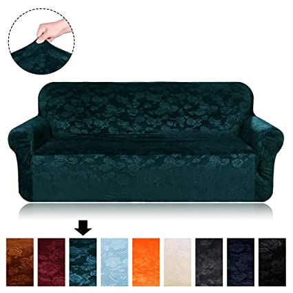 Velvet Plush Stretch Sofa Covers - Fit Stretch Stylish Furniture Protector  Sofa Slipcovers for Loveseat, 1 Piece Spandex Embossing Flower Pattern ...