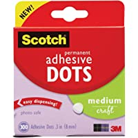 Scotch 010-300M Permanent Adhesive Glue Dots - 8 mm, Pack of 300