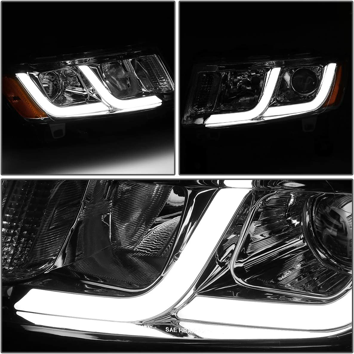 for 14-16 Jeep Grand Cherokee DNA Motoring Black clear HL-HPL-JGC14-BK-CL1 Pair LED DRL Projector Headlight