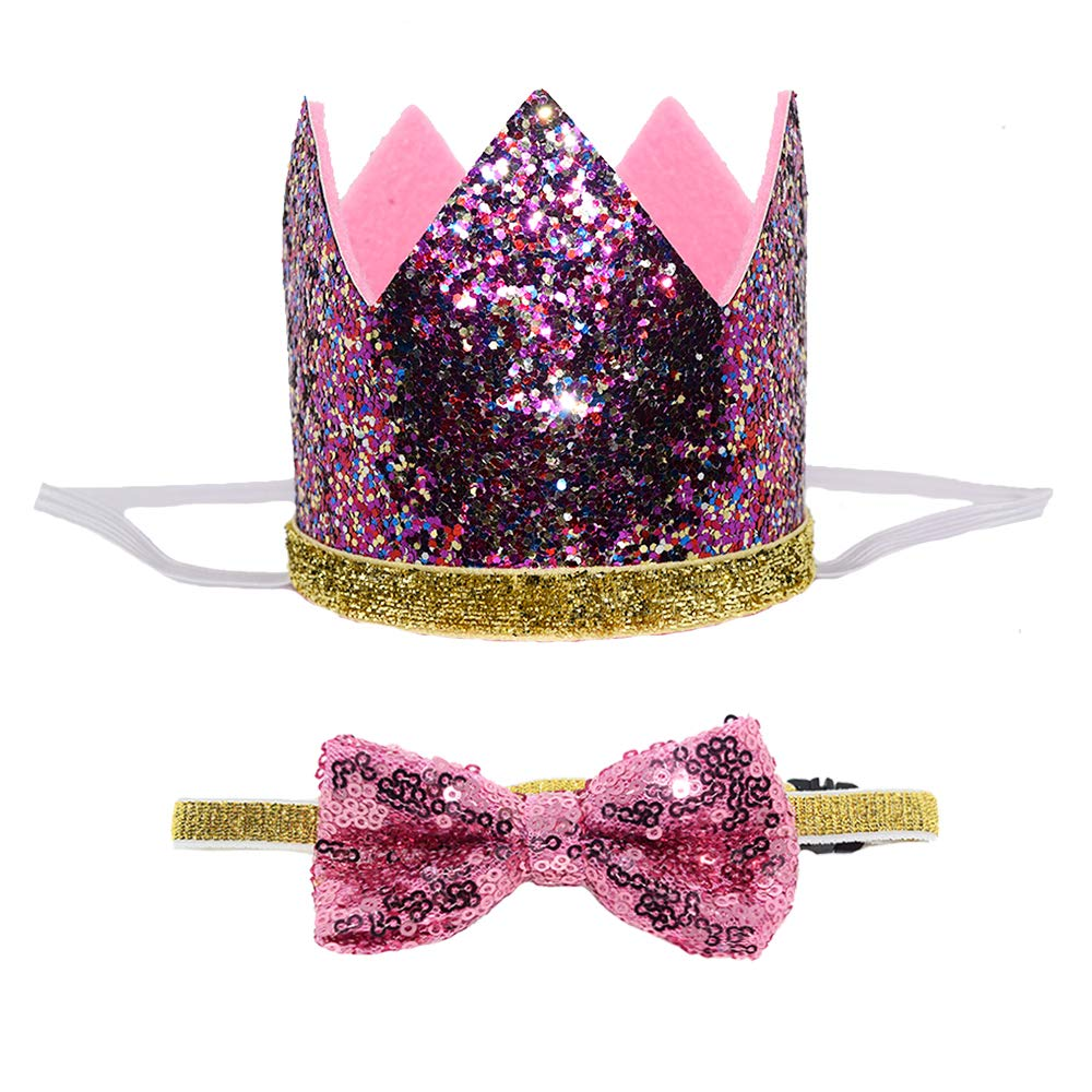 Petsidea Cute Pet Birthday Crown Hat and Bow tie Collar Set for Dog Cat Birthday Party Supplies (Purple) by Petsidea (Image #1)