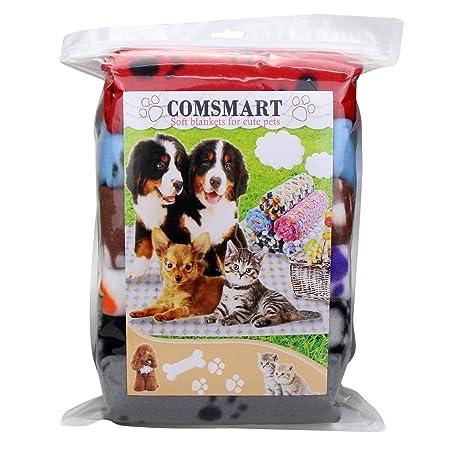 Comsmart - Manta de Forro Polar para Mascotas, cálida, con Estampado de Huellas y Manta Suave para Cachorro de Gato y Otros Animales pequeños: Amazon.es: ...