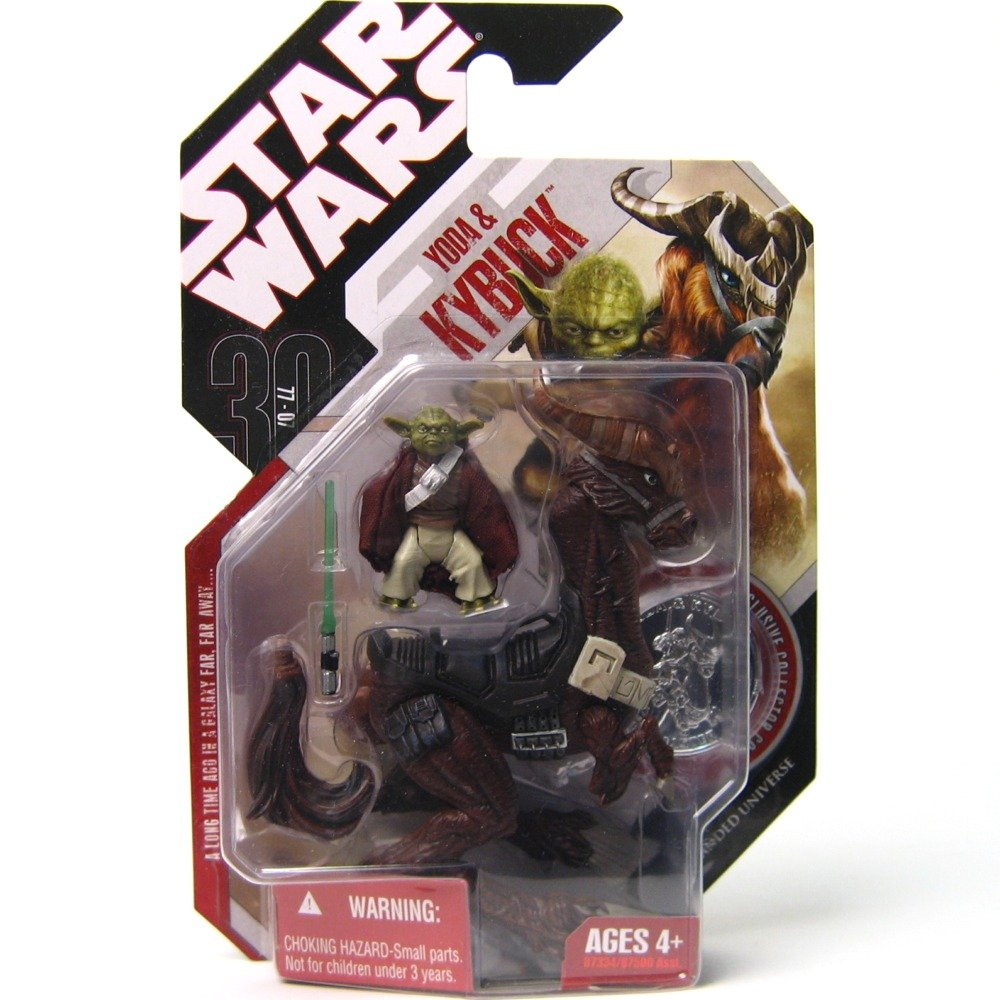 Star Wars 30th Anniversary Yoda with Kybuck Action figure with Coin 2007 Hasbro 87334 R3-MRP9-8FEQ