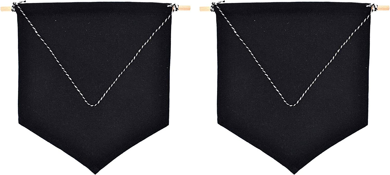 2pcs Blank Cotton Banner for DIY Home Decoration Display Lapel Pins Buttons Badges Lauthen.S Enamel Pin Wall Display Banner Natural Color+Black
