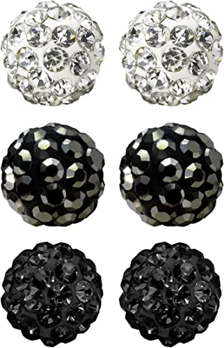 HeiHy 3 Pcs Diffrent Size Rhinestone Earrings Studs Stainless Steel Round Ball Studs Earring Set