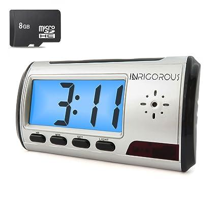 Inrigorous 8 GB Despertador móvil, espía, cámara oculta, cámara DVR, mando a distancia con detección de movimiento con tarjeta de memoria de 8 GB: ...