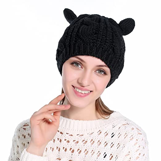 Cat Ear Beanie Knit Hat for Women Lovely Teens Warm Crochet Braided Ski Caps  Black 6ecb1d8c157a