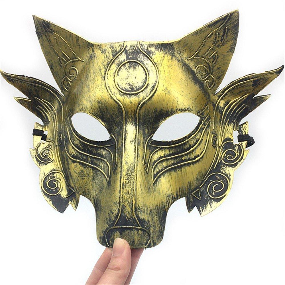 PromMask Mascara Facial Careta Protector de Cara dominó Frente Falso Halloween Maquillaje Danza Cabeza de Lobo Horror máscara Fiesta Animal Juego de Matar ...