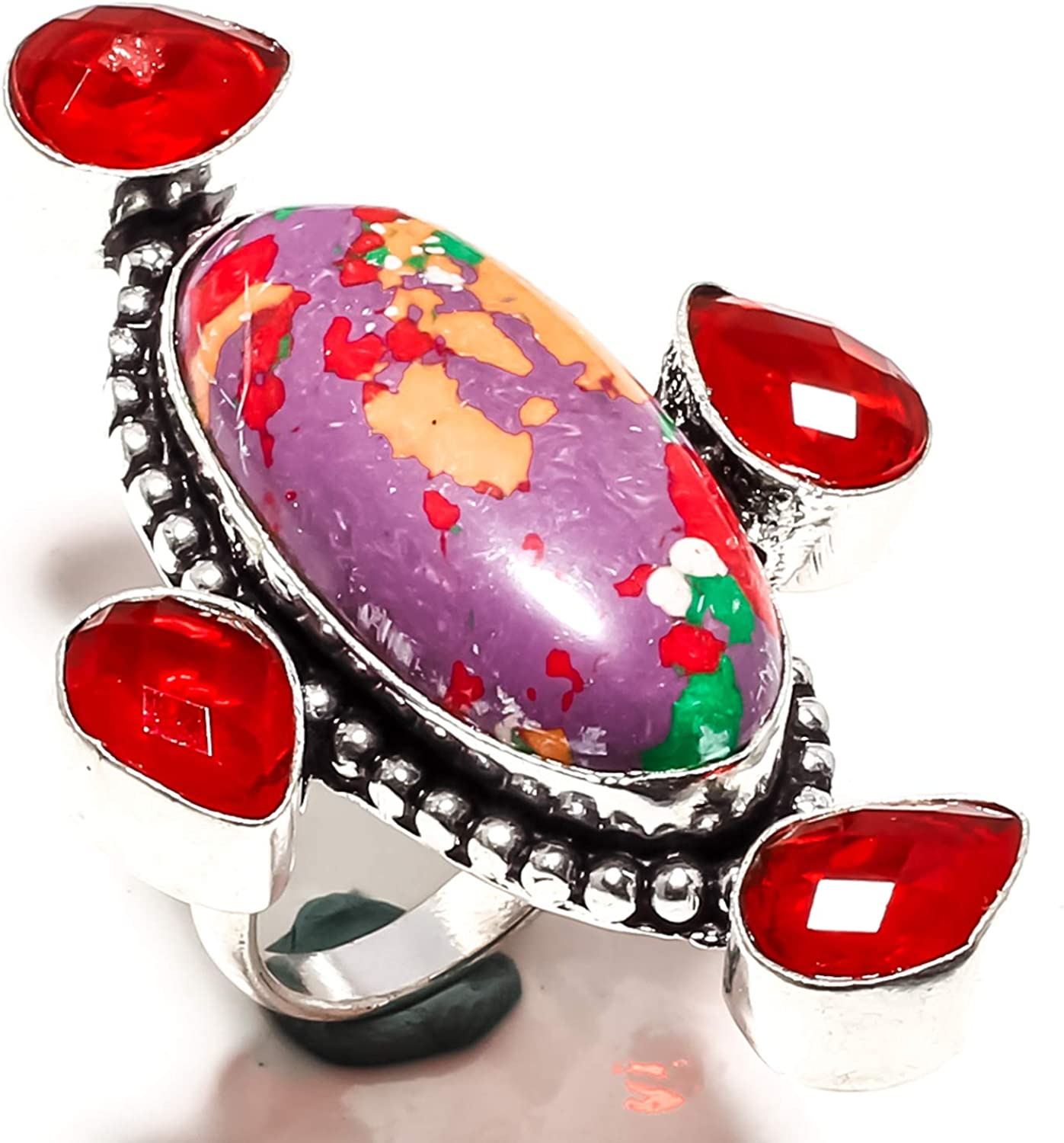 - 7 US Ring Size SF-1908 jewelsworld Pretty Purple Mosaic Jasper /& Red Garnet Gemstone Ring Handmade 925 Sterling Silver Plated Jewelry -Statement Ring - -