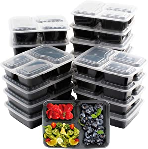 Meal Prep Containers [20 Pack] 3 Compartment with Lids,Food Prep Containers,Disposable Food Containers,36oz Reusable Plastic Bento Box,BPA Free,Microwave/Dishwasher/Freezer Safe