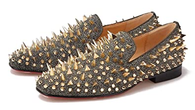 0a482ff8337 Gold Rhinestone Spiked Men s Penny Loafers Long Gold Rivet Sparkly Shoes  Round Toe Low Heel Flats
