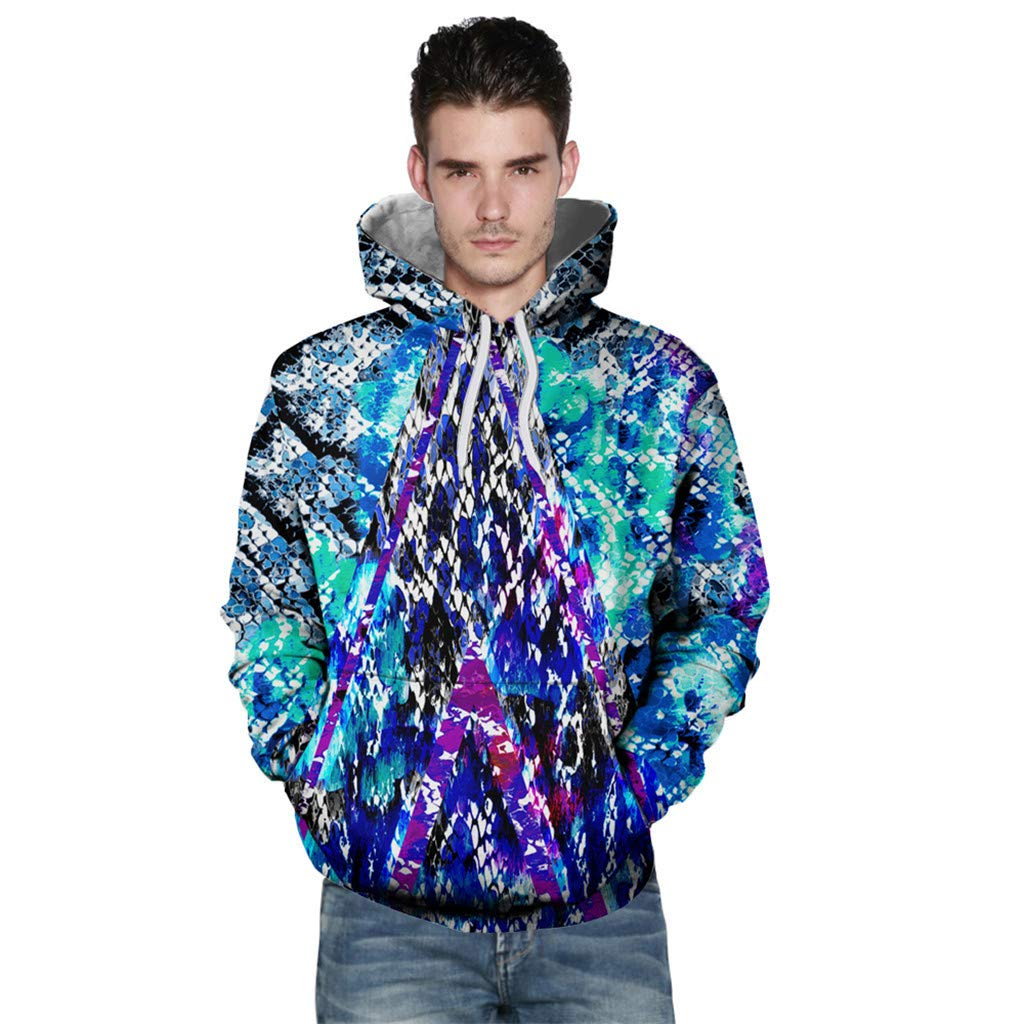 〓COOlCCI〓Men Long Sleeve 3D Funny Print Sweatshirts,3D Digital Galaxy Drawstring Pullover Hooded Hoodie Top Shirt Pockets Green by COOlCCI_Mens Clothing