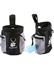 AMZNOVA Dog Treat Bag Pet Training Pouch Carries, Little Toy, Dog Food and Keys, With Adjustable Strip, Trash Bag Dispenser for Travel or Outdoor Use