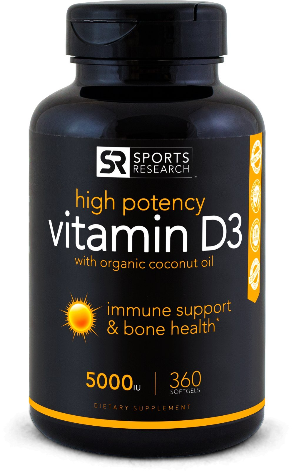 High Potency Vitamin D3 (5000iu) enhanced with Coconut Oil for Better Absorption ~ Bone, Joint and Immune system support ~ Non-GMO & Gluten Free, 360 Mini Liquid Softgels