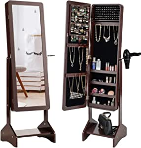 Charmaid Standing Jewelry Cabinet With Full Length Mirror Jewelry Armoire With Hair Dryer Rack For Bedroom 4 Angle Adjustable Large Storage Capacity Jewelry Organizer Cabinet Coffee Home Kitchen