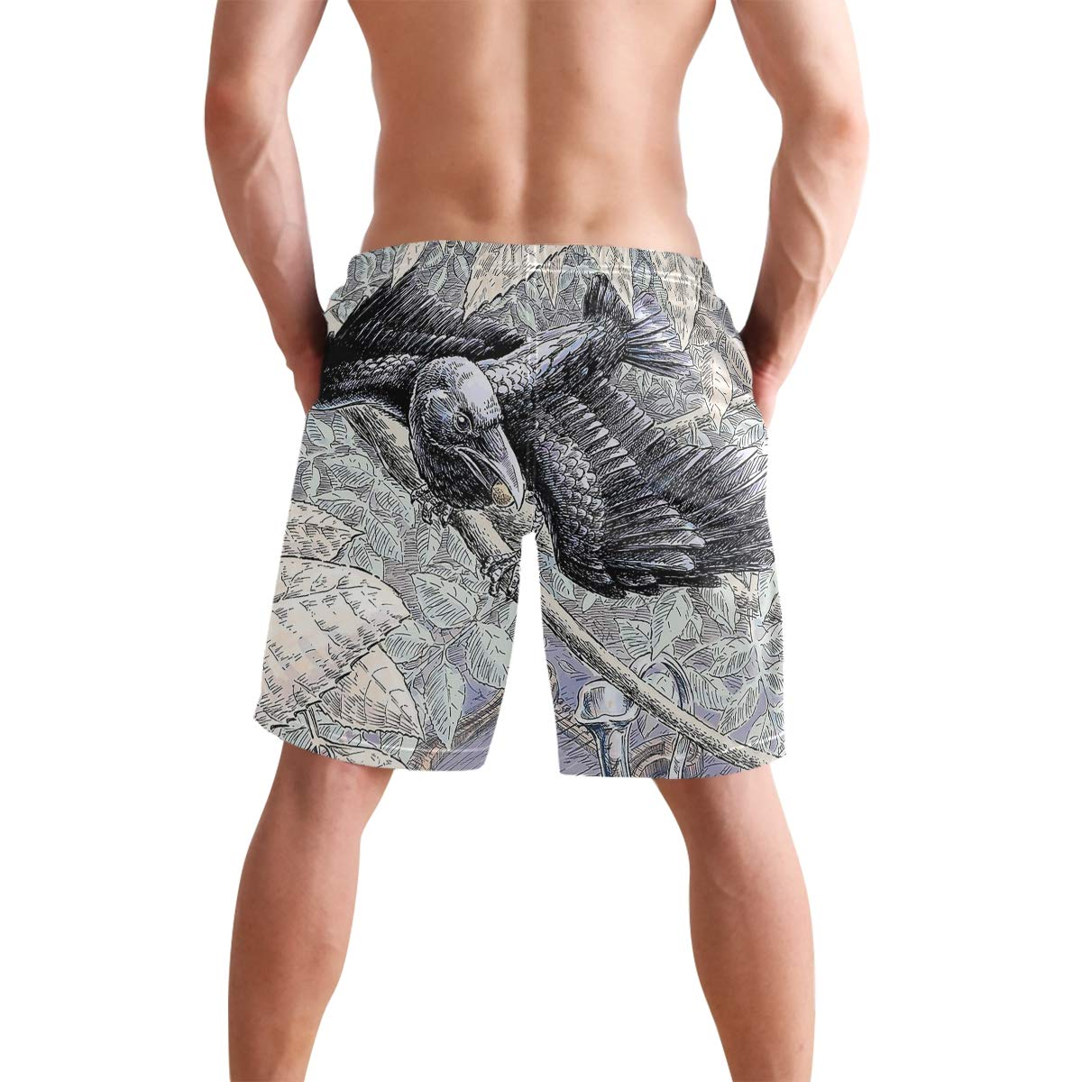 The Crow and Pitcher CBSwimTru Mens Casual Quick Dry Drawstring Printed Swimsuit Beach Board Shorts
