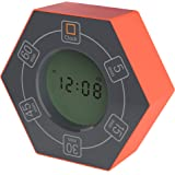 Home & Office Timer with Clock, 5,15, 30, 45, 60 Minute Preset Countdown Timer, Easy-to-Use Time Management Tool (Orange)