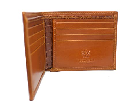 652027f008fc Image Unavailable. Image not available for. Color: Men's Designer Leather  Wallet in Genuine Chestnut French Calf and Alligator ...