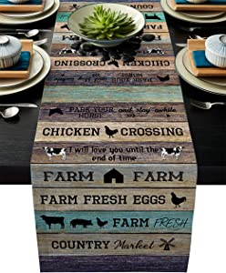 Linen Table Runner for Dining Table,Farm Barn Animal Cow Pig Horse Retro Wooden Texture Machine Washable Table Top Covers 18x72Inches for Home Kitchen Wedding Party Outdoor Decor
