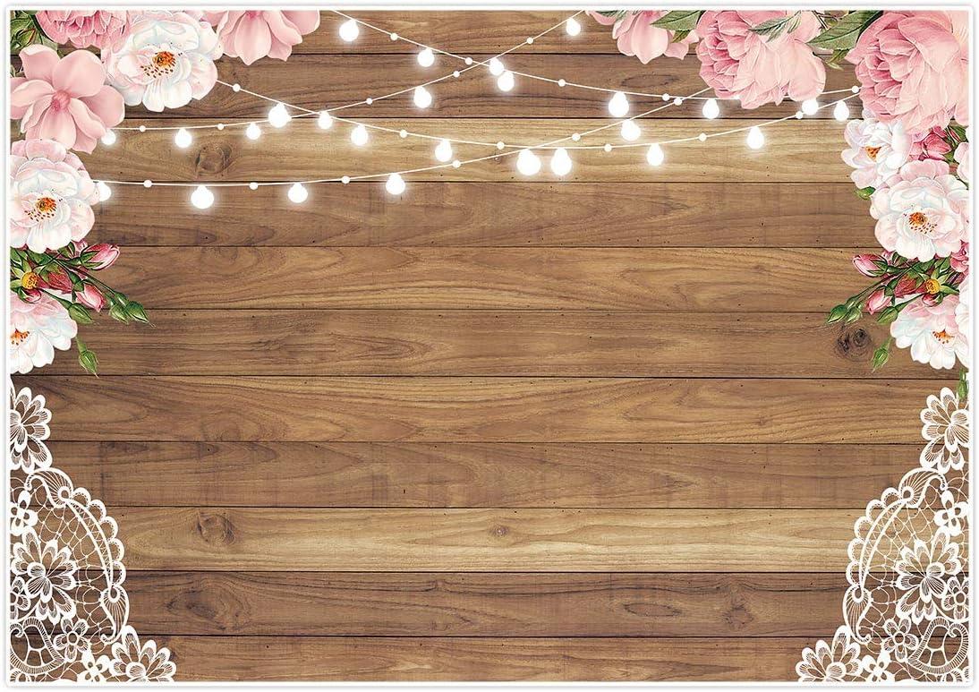 Allenjoy Toile de fond en dentelle en bois marron pour photographie florale de mariage f/ête de mariage f/ête des m/ères banni/ère de studio photo f/ête danniversaire plancher en bois rustique