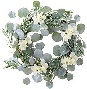 18 Inch Eucalyptus Greenery Wreath Spring Door Wreath Farmhouse Garland Plastic Wreath for Front Door Wedding Wall Hanging Window Party Decoration