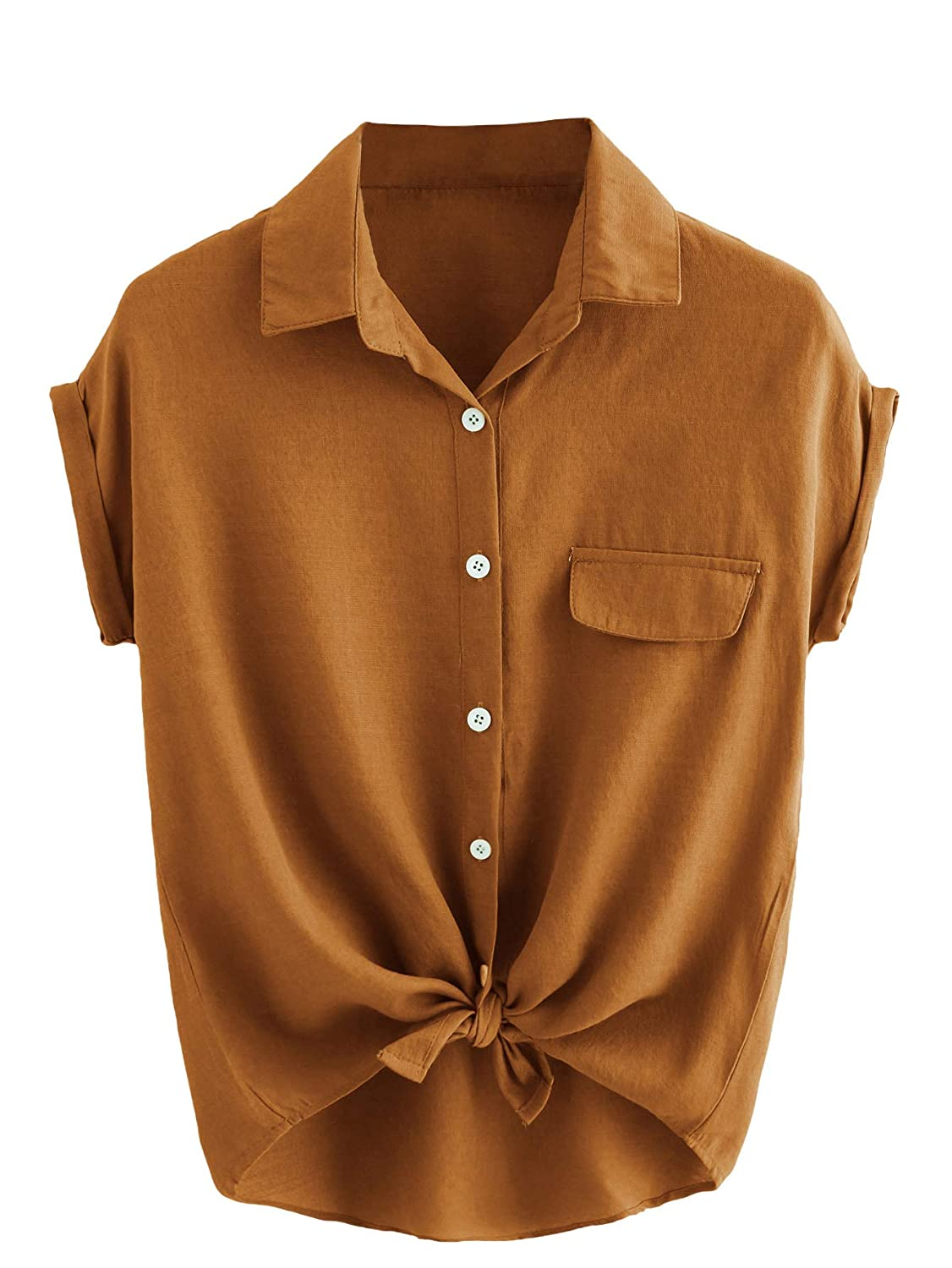 Brown SheIn Women's Plain Lapel Collar Rolled Sleeve Knotted Front Blouse