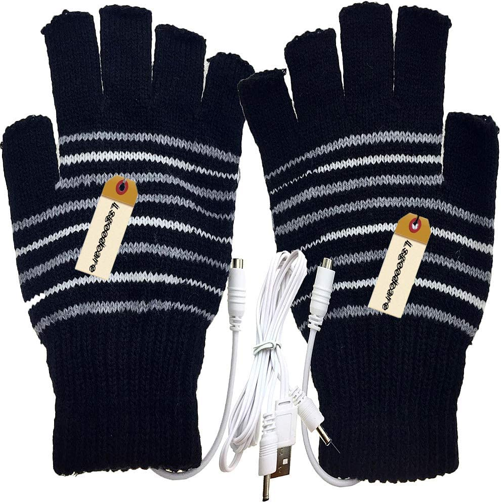 Lsgoodcare Black USB 2.0 Stripe Pattern Fingerless Heating Knitting Wool Hands Warm Gloves Gloves