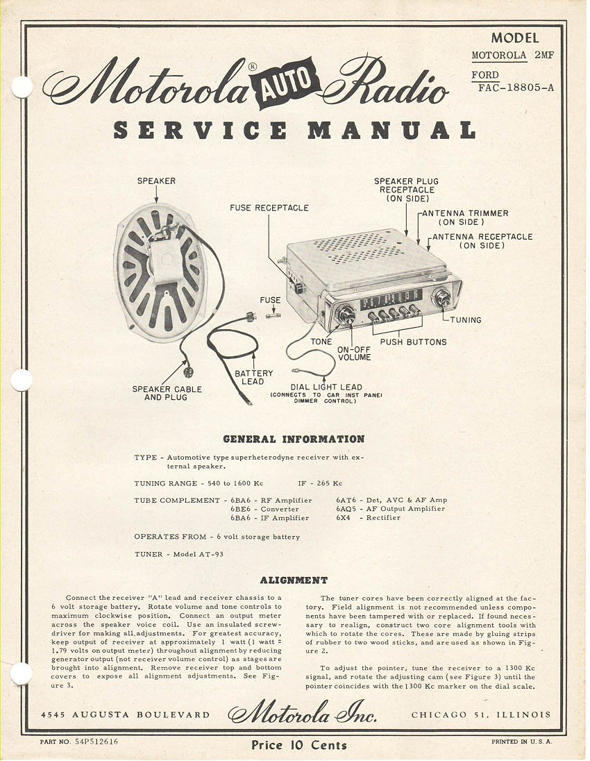 Motorola Auto Radio Service Manual Model Motorol 2MF, and Ford FAC
